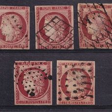 Frankrijk 1850 - 5 variations of the 1 franc Ceres. - Yvert 6x5