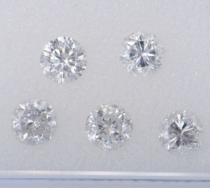 5 pcs Diamond - 0.99 ct - Brilliant, Round - E, H - SI2       SI3     ** No Reserve Price **