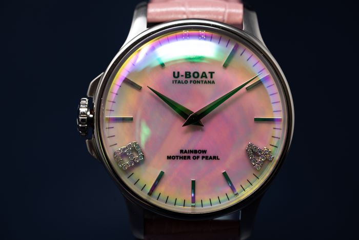 U-Boat - Rainbow Pink Mother Of Pearl 38mm Swiss Movement Pink Leather Strap - 8472 - 女士 - Brand New