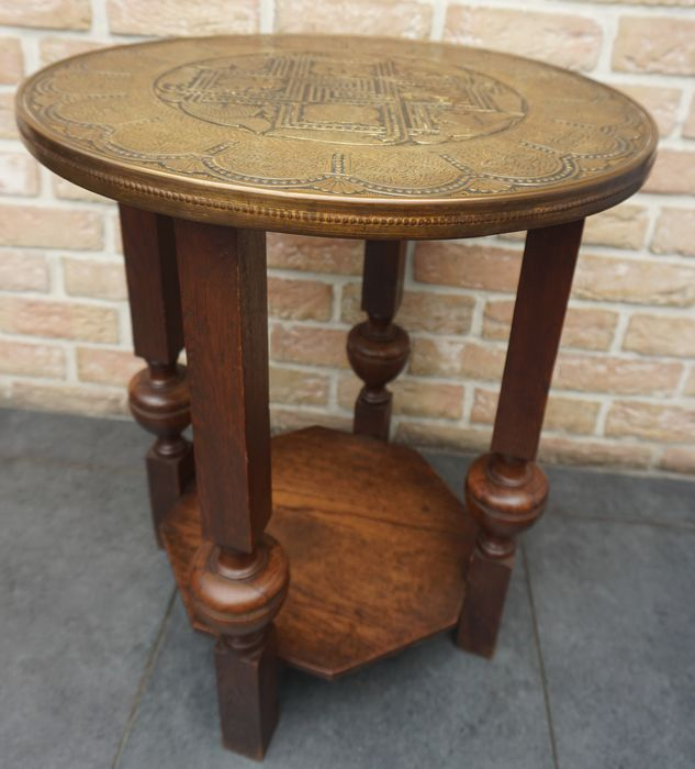 Colonial table, Dutch East Indies, first half of the 20th century - Copper, Wood