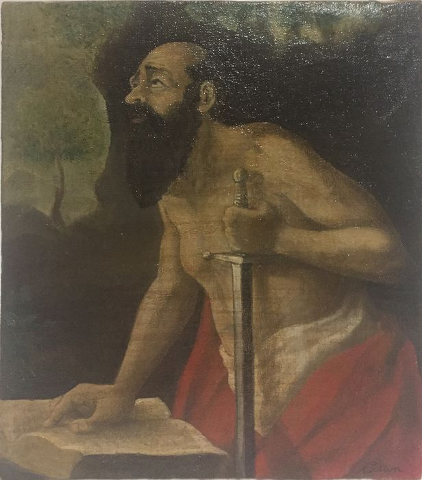 "Painting, ""Saint Paul"" (1) - Oil painting on canvas - 19th century"