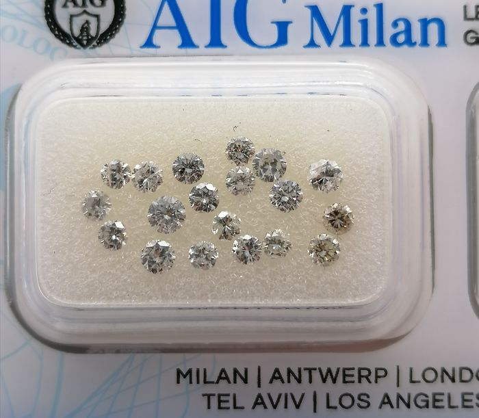 19 pcs Diamond - 1.07 ct - Brilliant - D (colourless), E, F, G, H - VS-I1 - No Reserve Price