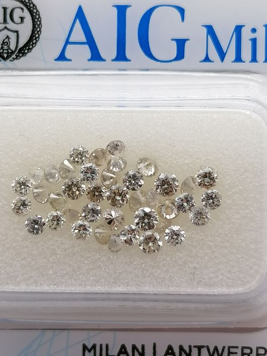 40 pcs Diamond - 1.03 ct - Brilliant - D (colourless), E, F, G, H - ***no reserve price**vvs1, vs2, vs1, vs2, si1, si2