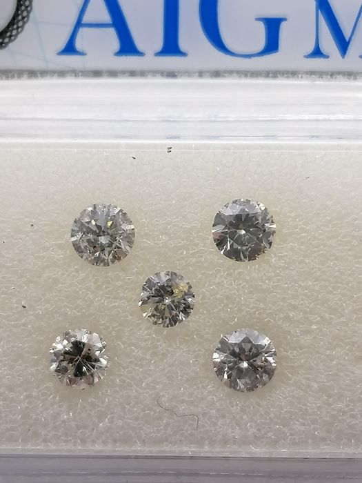 5 pcs Diamond - 0.61 ct - Brilliant - E, F, G, H, I - **no reserve price***si1, si2, i1
