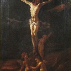 Anonymous - Antique Genoese School Painting - Crucifixion