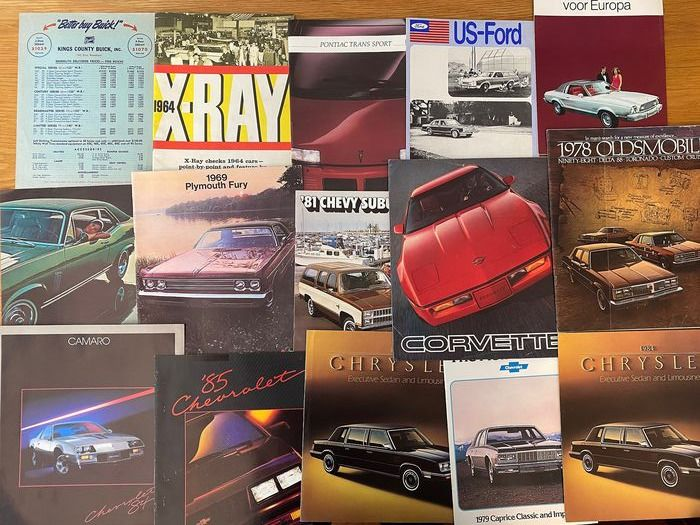 Brochures / catalogues - 16 x 1960/70s Oldsmobile Ford Corvette,chevrolet Plymouth brochures - Chevrolet, Corvette, Ford, Oldsmobile, Plymouth - 1970-1980