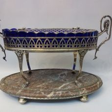 Very rare, SILVER, marble and crystal center - Prata, Crystal and Marble - Portugal - Final do século XIX