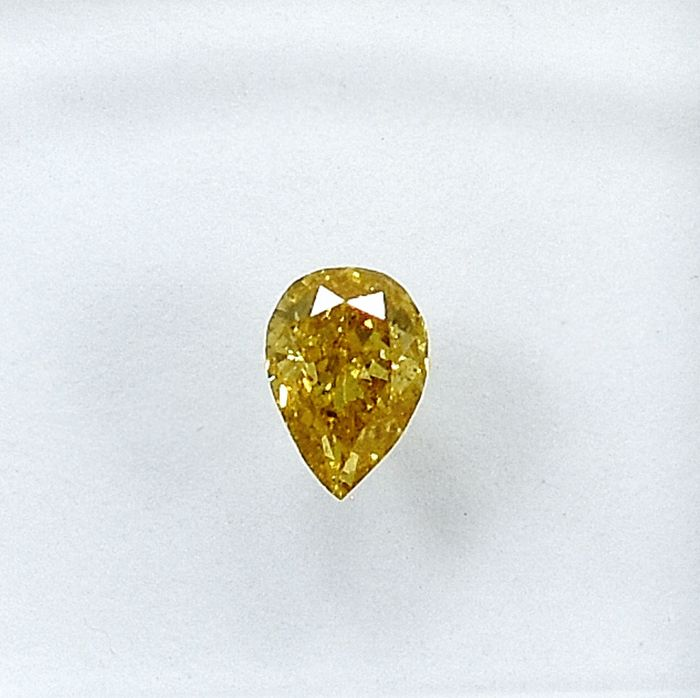 Diamond - 0.19 ct - Pear - Natural Fancy Brownish Yellow - Si2 - NO RESERVE PRICE