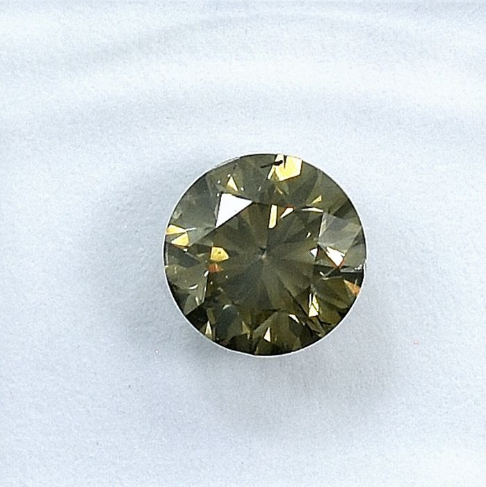 Diamond - 0.90 ct - Brilliant - Natural Fancy Deep Greyish Yellowish Brown - I1 - NO RESERVE PRICE