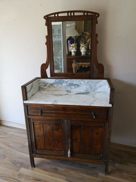 Comb -Toilette with original marble - Art Nouveau - Wood and marble