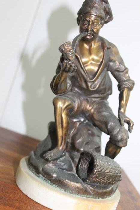 Sculpture, fisherman with pipe (1) - Zamac - First half 20th century