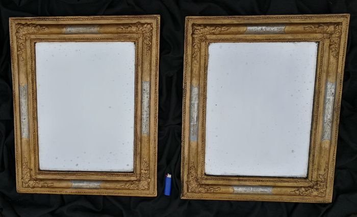 Pair of rectangular wooden mirrors in gold leaf and mecca
