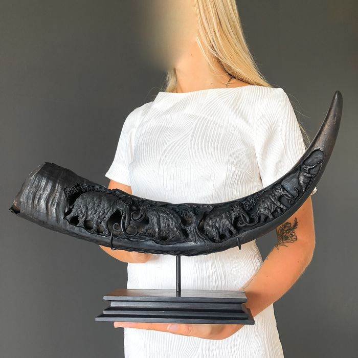 Finely engraved large horn of a water buffalo with custom stand - Bubalus Bubalis Horn - Prehistoric Wildlife Motif