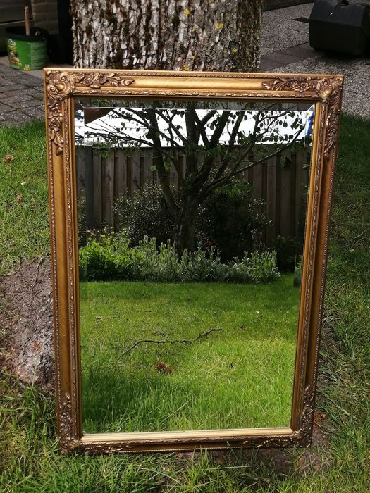 Beautiful gold-plated faceted mirror - Glass, Wood