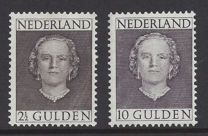 Netherlands 1949 - Queen Juliana 'en face' - NVPH 535 + 537