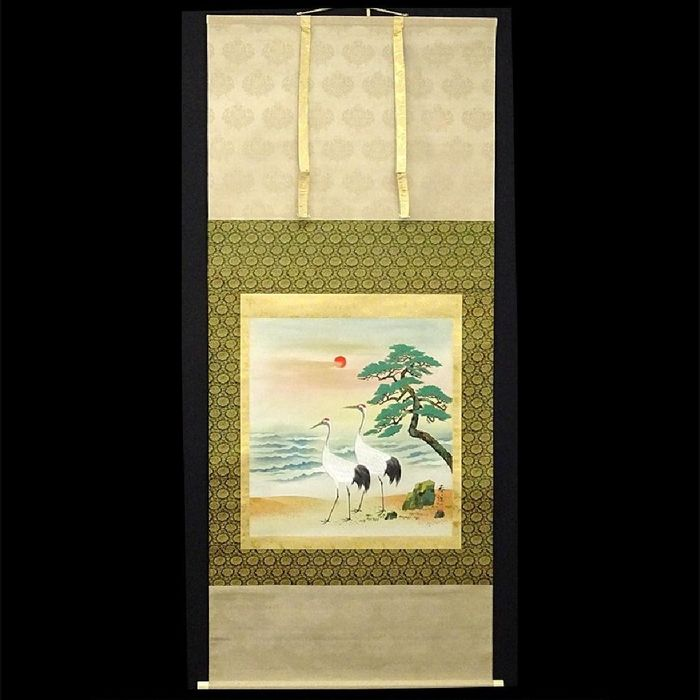 Hanging scroll - Paper, Silk - 双鶴図(Double Crane) - Japan - Late 20th/21st Century