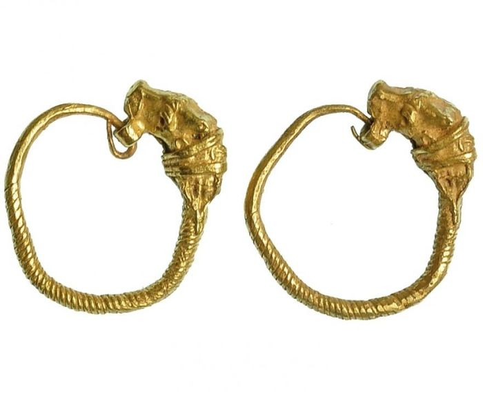 Ancient Greek Gold Earrings depicting cow heads