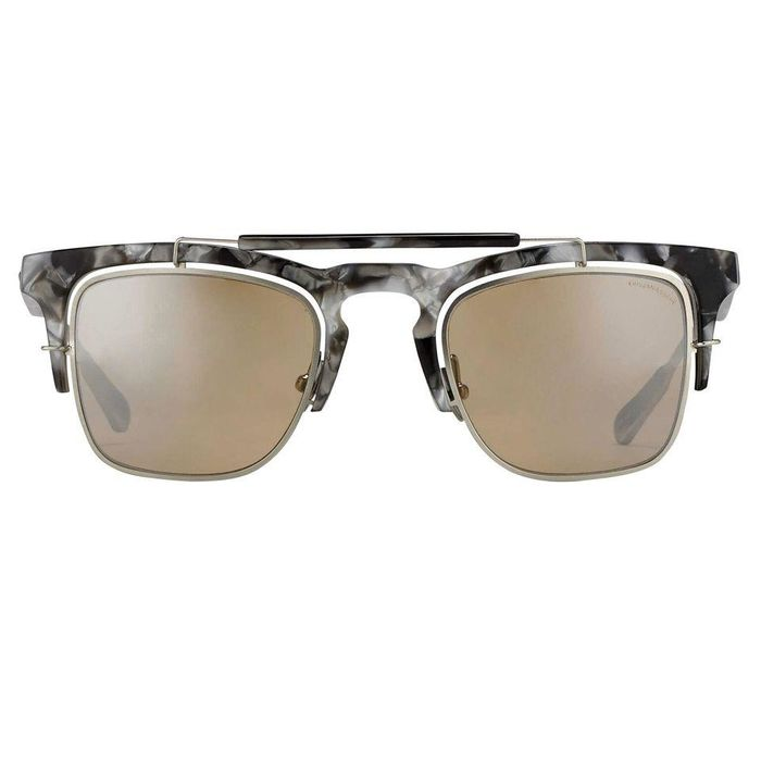 "Kris Van Assche - D-Frame Black Tortoiseshell Silver and Orange Mirror Lenses - KVA66C5SUN ""NO RESERVE PRICE"" Sunglasses"
