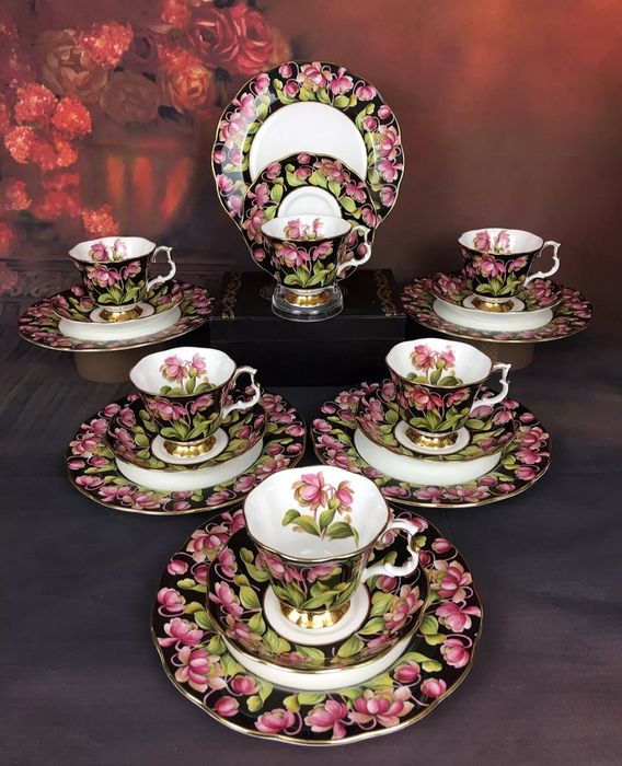 Royal Albert - Tea set for 6, Provincial Flowers - Art Deco - Porcelain, Bone China
