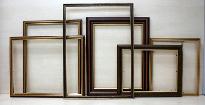 Vintage schilderijlijsten - Vintage wooden gilded painting. photo frames (6) - Goldplate, Wood