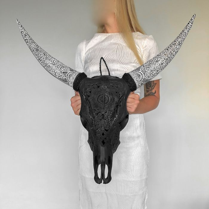 Authentic hand carved matte black cow skull with bohemian carved horns - Flower mandala carving - - Bone, Scrimshaw: Carvings in bone or ivory