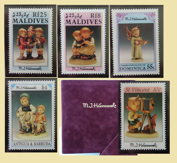 """World - Special collection of """"Hümmel"""" figurines on stamps, in original album"""
