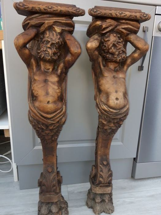 Sculpture (2) - Wood - Late 19th century