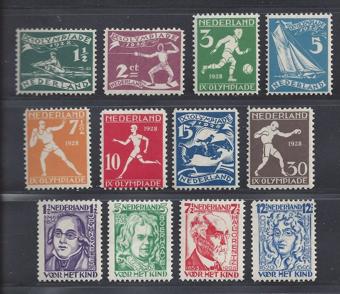 Netherlands 1928/1928 - Olympiad and Children's Aid stamps - NVPH 212/219 + 220/223