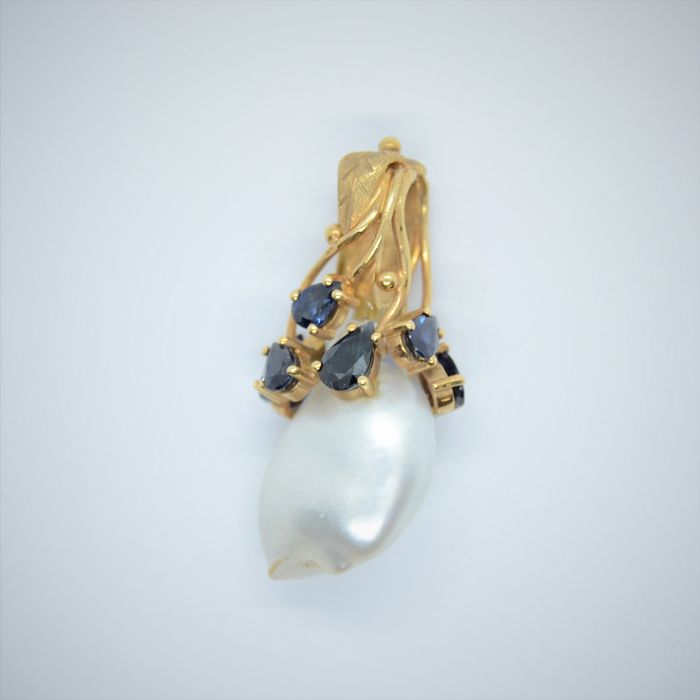 18 kt. Gold - Pendant Pearl - Sapphire