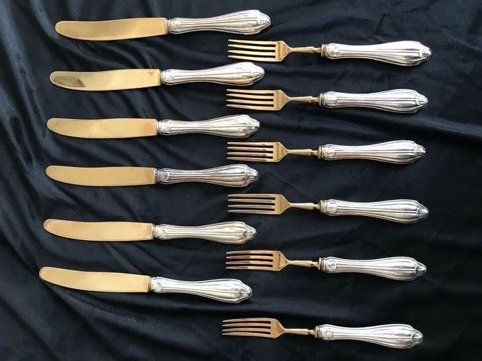6-person set of silver plated forks and knives (12) - .800 silver, Brass