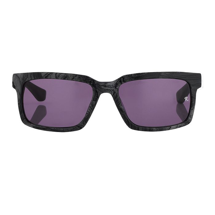 "Raf Simmons - Rectangular Black Texture and Grey Lenses ""NO RESERVE PRICE"" Sunglasses"