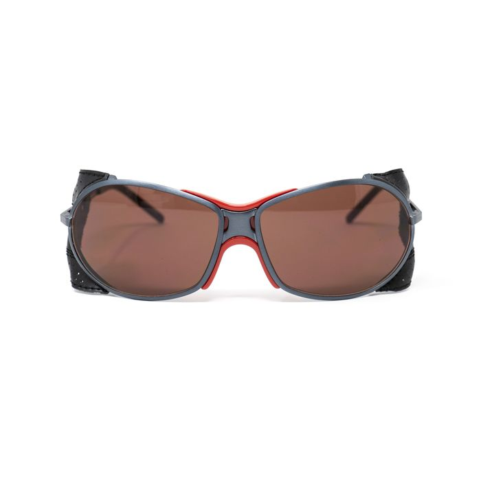 """Raf Simmons - Wrap Dark Grey Leather Trim Sports and Brown Lenses """"NO RESERVE PRICE"""" Sunglasses"""