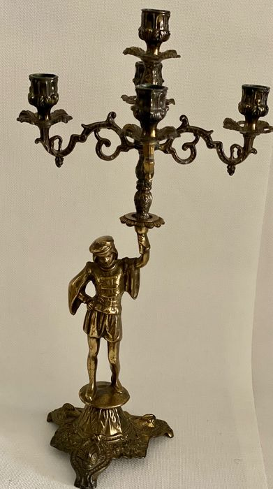 Decorated Figural Five-light Candelabra - Copper