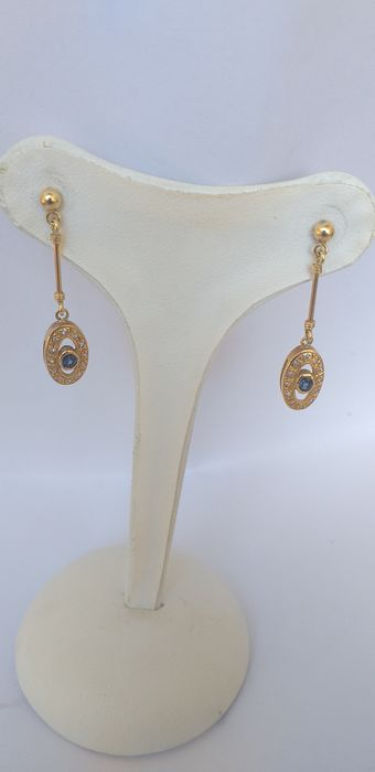 18 kt. Yellow gold - Earrings Sapphires 0.10 ct - Diamonds 0.13 ct