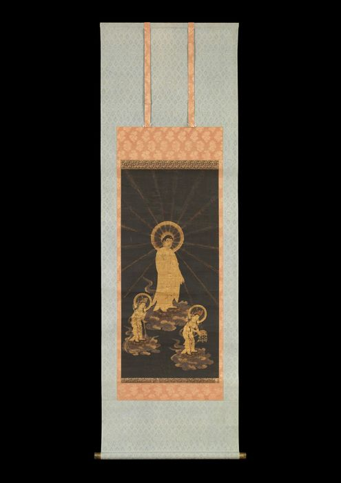 "Hanging scroll painting - Gold and color in indigo-dyed silk, mounting on silk - ""Amida sanzon butsu raigō-zu""  阿弥陀三尊来迎図 (Welcoming Descent of the Amida Buddha Triad) - Japan - 15th century (Muromachi period)"