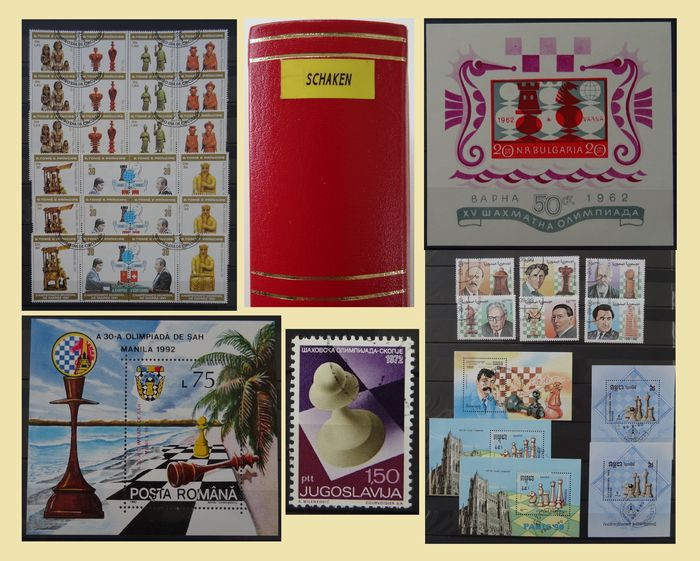 Chess - world - Collection with duplicates, all with the 'Chess' theme, in a thick stock book