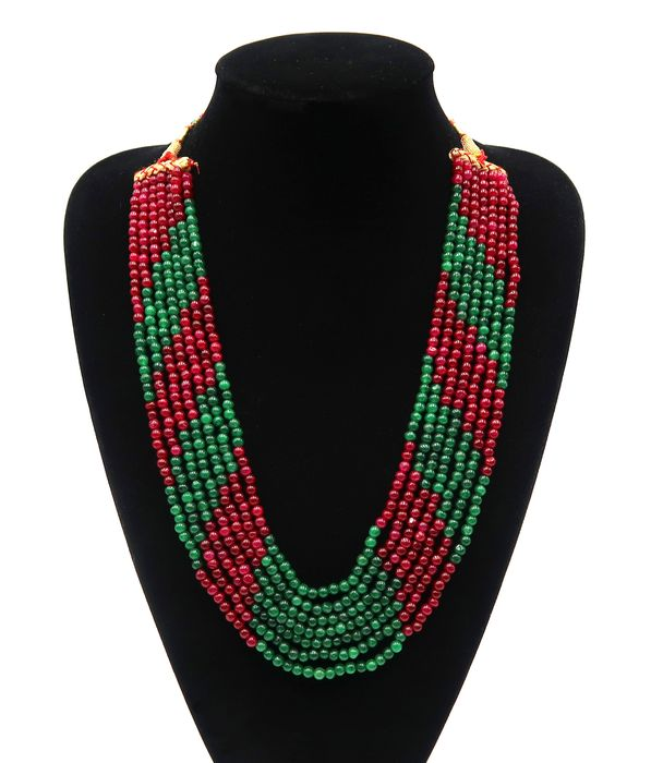 Ruby, emerald, polished pearls - 7-row necklace - 111 g