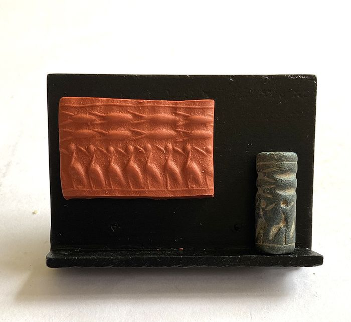 Mesopotamian Steatite Cylinder Seal, Birds and Fishes, 2nd Mil BC
