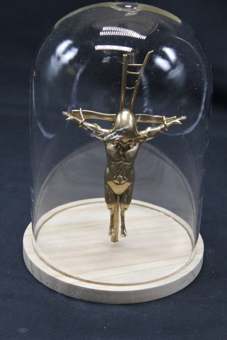 Crucified Demon under Glass Dome - - - 15×8×2.5 cm