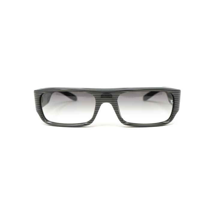 """Raf Simmons - Flat Top Black Grey Stripes and Grey Lenses """"NO RESERVE PRICE"""" Sunglasses"""