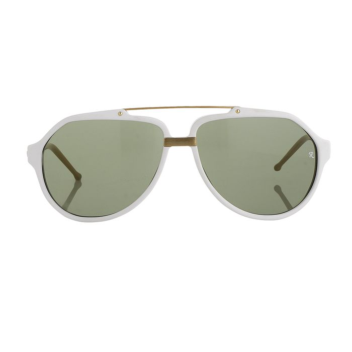 """Raf Simmons - Aviator White Brushed Gold and Green Lenses """"NO RESERVE PRICE"""" Sunglasses"""