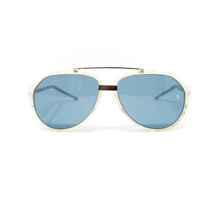 "Raf Simmons - Aviator Shiny Clear and Blue Lenses ""NO RESERVE PRICE"" Sunglasses"
