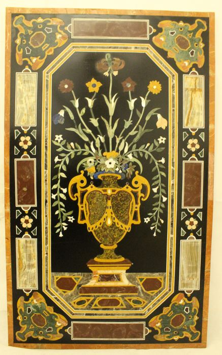 A specimen marble and pietra dura table top (100 x 60 cm) - Florence - Marble - Early 20th century