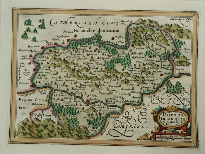 Ierland, County Carlow west of Borayne River; Henri du Sauzet - Udrone Irlandiae in Caterlagh Baronia - 1721-1750