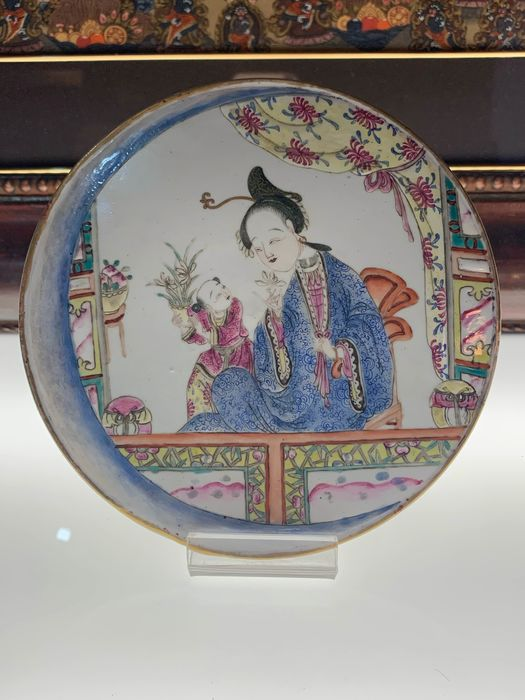 Plaques (1) - Famille rose - Porcelain - China - Late Qing period