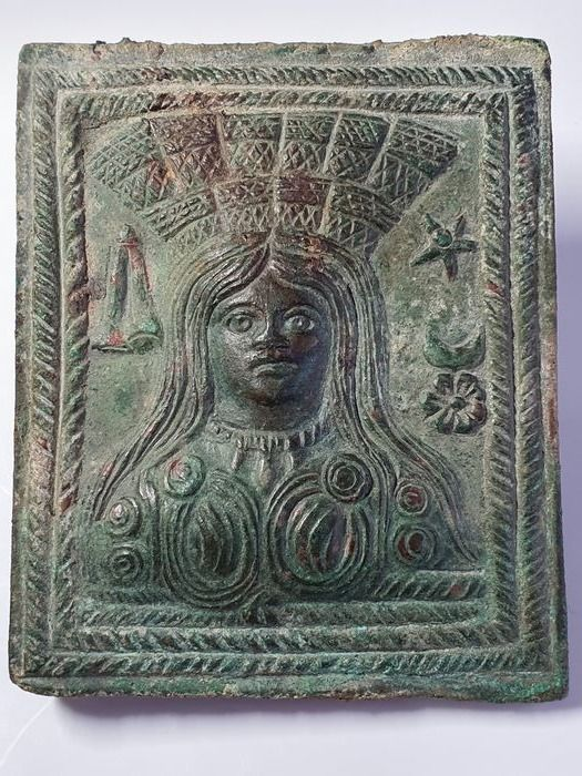 Ancient Roman Bronze Votive Plaque of Goddess Cybele or Tyche