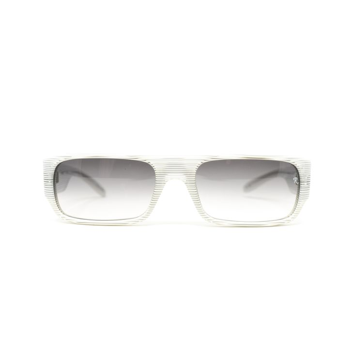 "Raf Simmons - Flat Top White Stripes and Grey Lenses ""NO RESERVE PRICE"" Sunglasses"