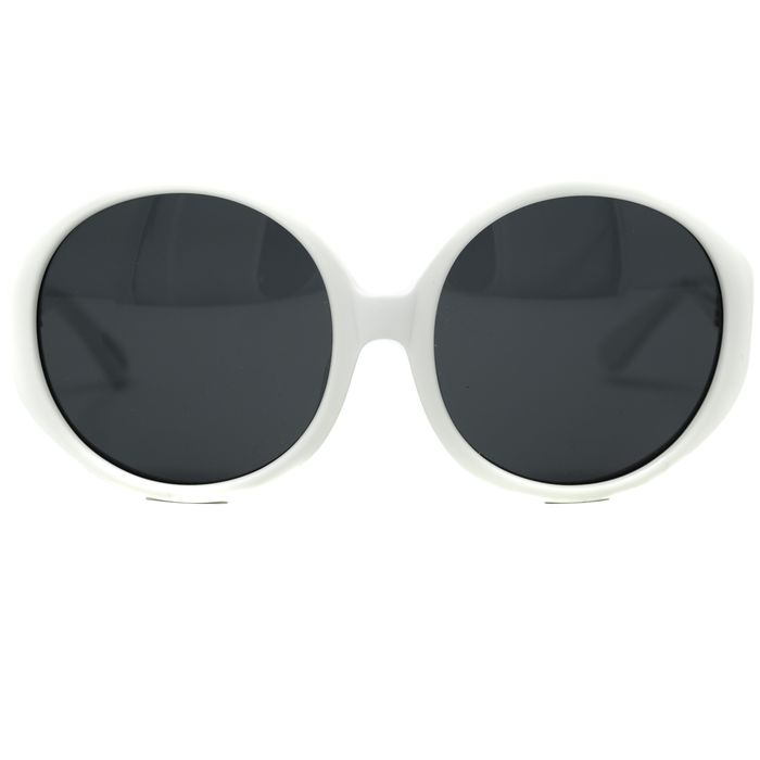 "Luelle - Round Jackie-O White with Black Lenses 7L1C5WHITE ""NO RESERVE PRICE"" Sunglasses"