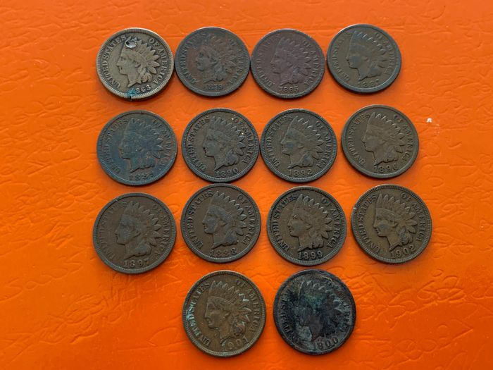 USA - Cents (Inidian Head) 1863/1902 (14 pieces)