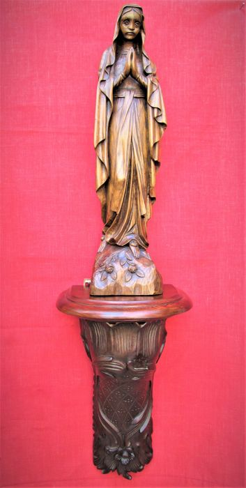 """August Van Den Abeele - Holy statue """"Our Lady of Lourdes"""", with wall base - wood - 90 cm. - Signed (2) - Oak, Meranti"""